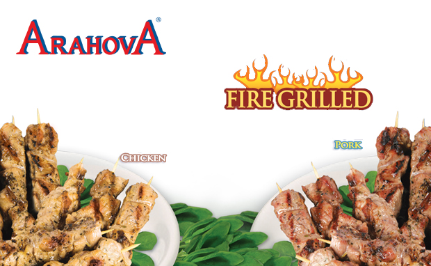 Chicken & Pork Souvlaki Skewers Fire Grilled